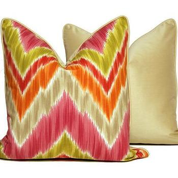 Pillows - Chevron Throw Pillows Vibrant Multi-Color | CC DeuxVie - pink orange and green chevron pillow, multi-colored chevron pillow, colorful chevron pillow,