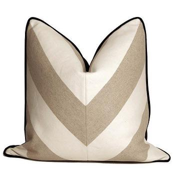 Pillows - Chevron Throw Pillows Flax and White | CC DeuxVie - white and greige chevron pillow, modern white and greige pillow, white and greige geometric pillow,