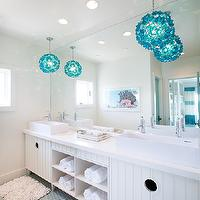 Tracy Hardenburg Designs - bathrooms - kids bathroom, shared kids bathroom, boys bathroom, shared boys bathroom, turquoise pendants, turquoise blue pendants, turquoise capiz pendants, turquoise blue capiz pendants, frameless mirror, lacquered double vanity, white double vanity, contemporary double vanity, vessel sinks, modern faucets, modern bathroom faucets, double vanity with shelves, blue penny tiles, penny tiles, penny tiled floor, blue penny tile floor, recycled bath mats,