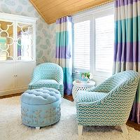 Girl's bedroom with planked vaulted ceiling paired with white and teal paisley ...