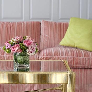 Cynthia Brooks Design - living rooms - striped sofa, pink striped sofa, striped couch, pink striped couch, striped velvet sofa, striped velvet couch, chartreuse pillow, chartreuse silk pillow, antique brass coffee table, glass top coffee table, paneled walls,