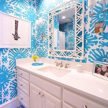 White Bamboo Mirror, Contemporary, bathroom, Tracy Hardenburg Designs