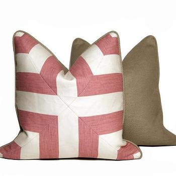 Pillows - Patchwork Throw Pillows - Pink and White + Pattern | CC DeuxVie - pink and white geometric pillow, pink and white geometric pillow with linen back, pink and cream geometric pillow,