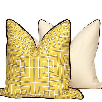 Pillows - Yellow GEO Throw Pillow Cover | CC DeuxVie - yellow geometric pillow, yellow geometric pillow with gray piping, yellow and white geometric pillow with gray piping,