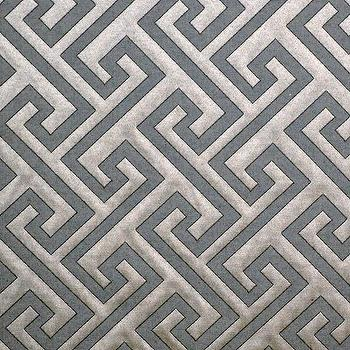 Fabrics - Frederickson Pattern Steel by Robert Allen | CC DeuxVie - gray and silver geometric fabric, gray and silver greek key fabric, gray on gray greek key fabric,