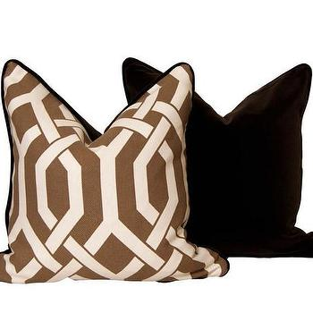 Pillows - Rich Chocolate Velour Backing I CC Deuxvie - chocolate lattice throw pillow, brown and white lattice throw pillow, chocolate lattice throw pillow with velour backing,