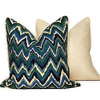 Pillows - Flamestitch Throw Pillows Blue & Green | CC DeuxVie - blue and green geometric pillow, modern blue and green pillow, blue and green flamestitch pattern pillow,