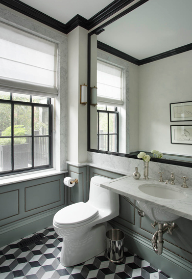 Fabric Paneled Walls Contemporary Bathroom Nina
