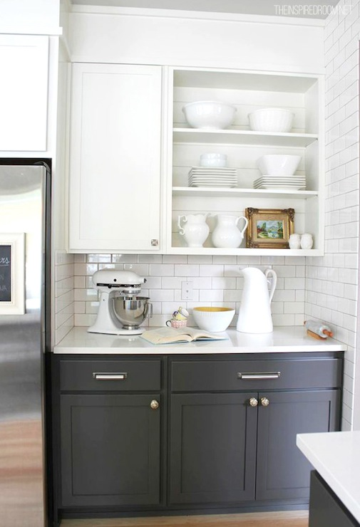 white upper cabinets gray lower cabinets transitional bathroom