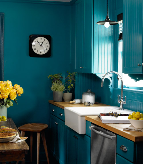 Peacock Blue Wall Paint Eclectic Kitchen Benjamin
