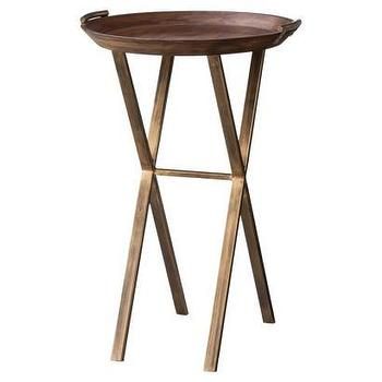 Tables - Threshold Wood and Brass Finish X-Base Accent Table I Target - brass finish table, round wood top table with brass finished base, round accent table with brass base and wooden top,