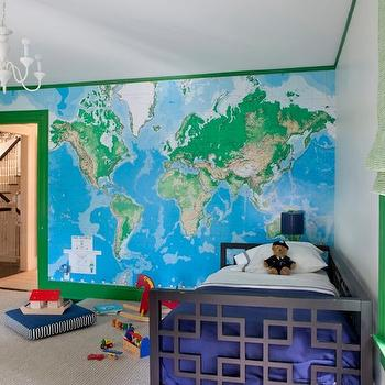 Nina Farmer Interiors - boy's rooms: world map mural, world map wall mural, world map wallpaper, green trim, green crown molding, green door, green and white roman shade, blue bedding, white bed linens, white bed sheets, blue blanket, daybed, kids daybed, modern black daybed, gray carpet, wall to wall carpet, gray carpeting, modern white glass chandelier, white chandelier, modern white chandelier, Toys R Us World Map Mural, kids daybeds, black daybed, interlocking squares daybed, west elm daybed, kelly green door, kelly green trim, green moldings, green crown molding, blue and green kids room,