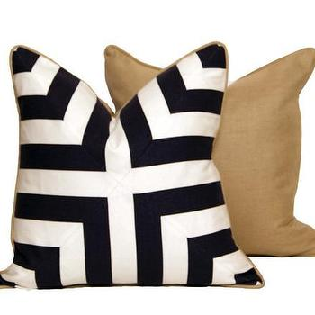 Pillows - Blue and White Cross Pattern  | CC DeuxVie - navy and white geometric pillow, navy and white modern pillow, navy and white pillow with linen back,