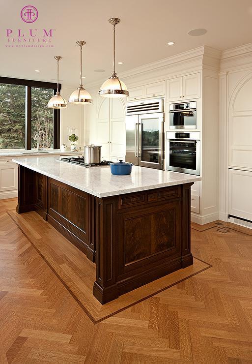 Herringbone Wood Floor Traditional Kitchen McGill