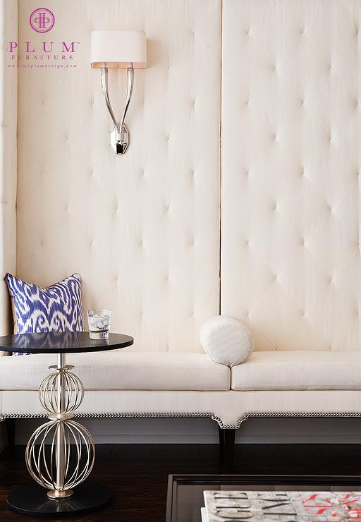 White Tufted Banquette Contemporary Entrancefoyer Mcgill Design