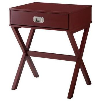 Tables - Threshold Campaign Side Table I Target - campaign style side table, red campaign side table, dark red campaign side table,