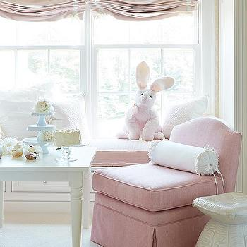 McGill Design Group - girl's rooms - pink slipper chair, pink linen chair, armless chair, pink armless chair, The Poppy Chair,  The Poppy Chair