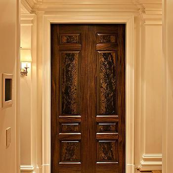McGill Design Group - entrances/foyers - mahogany doors, mahogany double doors, solid mahogany doors, greek key floor, greek key trim,  Mahogany