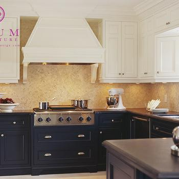 McGill Design Group - kitchens - navy cabinets, navy blue cabinets, navy kitchen cabinets, navy blue kitchen cabinets, white upper cabinets dark lower cabinets, two tone cabinets,