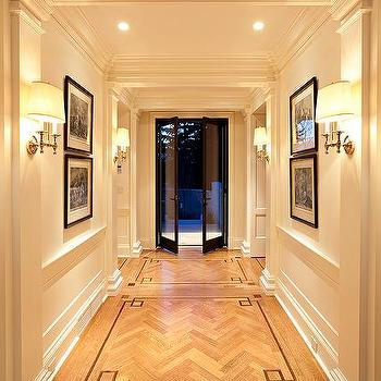 McGill Design Group - entrances/foyers - greek key floor, herringbone floor, herringbone wood floor, glass double doors,  Hardwood