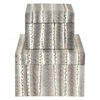 Decor/Accessories - Snakeskin Boxes | Jayson Home - gray snakeskin boxes, decorative snakeskin boxes, gray and white snakeskin boxes,