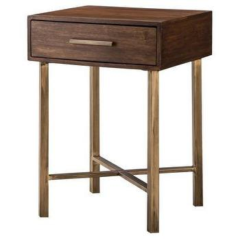 Tables - Threshold Wood and Brass Square Accent Table I Target - wood accent table with brass pull, wood side table with brass pull, modern wooden side table with brass pull,