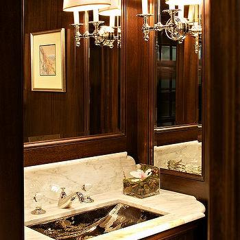 McGill Design Group - bathrooms - paneled bathroom, paneled powder room, floating vanity, powder room, floating marble vanity, mahogany walls, mahogany paneled walls,