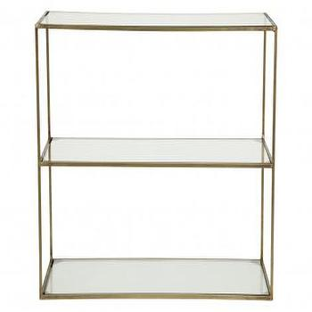 Storage Furniture - Sheffley 3 Tier Shelf | Jayson Home - brass and glass 3 tier shelf, antiqued brass and glass shelf, 3 tier antiqued brass and glass shelf,