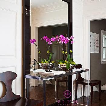 McGill Design Group - entrances/foyers - lucite console table, floor mirror, lucite table, paneled walls, foyer, , The Johnny Table, The Wonder Mirror,