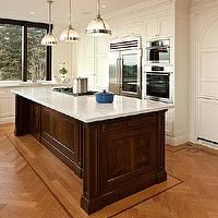 McGill Design Group - kitchens - wood herringbone floor, hardwood herringbone floor, herringbone kitchen floor, herringbone wood floor, two tone kitchen, clemson pendants, kitchen island, brown kitchen island, white marble countertop,
