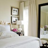 McGill Design Group - bedrooms: cream headboard, cream tufted headboard, cream velvet headboard, floor mirror, bedroom floor mirror, white bedding, black bedside tables, cream curtains, cream drapes, black bedside table, white ripple lamp, white glass lamp, cream tufted headboard,