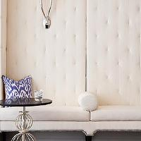 McGill Design Group - entrances/foyers - tufted bench, white tufted bench, built-in bench, banquette, tufted banquette, white tufted banquette, tall banquette, Ruhlmann 2 Light Sconce,
