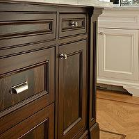 McGill Design Group - kitchens - millwork details, wood herringbone floor, hardwood herringbone floor, herringbone kitchen floor, herringbone wood floor, two tone kitchen,