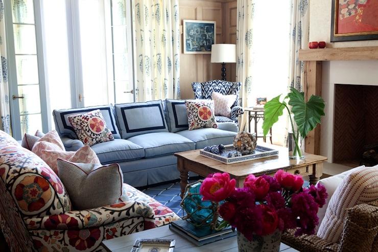Suzani Sofa Eclectic Living Room Sara Gilbane Interiors