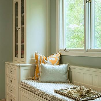 Bathroom Window Seat, Transitional, bathroom, Benjamin Moore Silver Marlin, Renae Keller