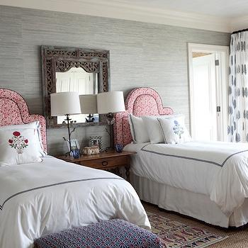 Gray Grasscloth, Eclectic, girl's room, Sara Gilbane Interiors