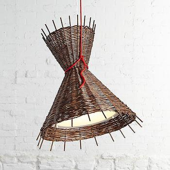 Lighting - Como Pendant Lamp - Paola Navone | Crate and Barrel - woven pendant lamp, modern woven pendant lamp, woven willow pendant lamp,