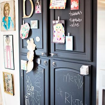 Gypsy Soul Interiors - kitchens - hardwood floors, white walls, white wall color, gallery wall, kids art, chalkboard paint, chalkboard pantry doors, chalkboard painted doors, chalkboard painted pantry doors, pantry doors, pantry chalkboard doors, pantry with chalkboard doors,
