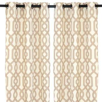 Window Treatments - Taupe Gatehill Curtain Panels, 95 in. | Kirkland's - taupe and ivory geometric drapes, taupe and ivory geometric curtains, taupe lattice drapes, taupe trellis drapes, taupe trellis curtains, taupe lattice curtains,
