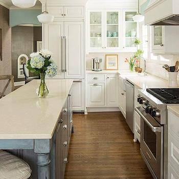 Long KItchen Island, Transitional, kitchen, Benjamin Moore Silver Marlin, Renae Keller