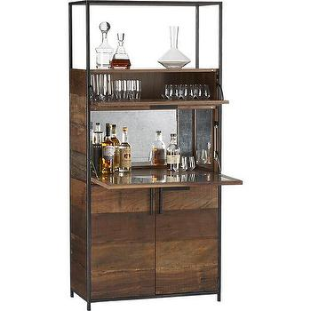 Storage Furniture - Clive Bar Cabinet | Crate and Barrel - reclaimed wood bar cabinet, reclaimed peroba wood bar cabinet, bar cabinet with antiqued mirrored backsplash,