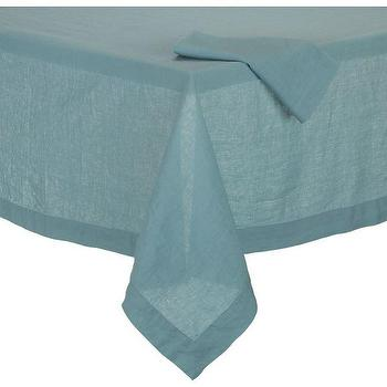 Decor/Accessories - Helena Aqua Tablecloth | Crate and Barrel - blue tablecloth, blue linen tablecloth, aqua blue linen tablecloth,