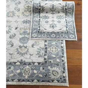 Rugs - Savilla Hand Knotted Rug | Ballard Designs - blue persian rug, blue and taupe rug, blue gray and taupe area rug,