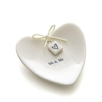 Decor/Accessories - Mr. and Mr. Ring Dish | Crate and Barrel - heart shaped ring dish, mr and mr ring dish, wedding ring dish,