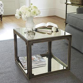 Tables - Mirabelle Mirrored Bunching Table | Ballard Designs - mirrored side table, mirrored bunching table, antiqued mirror side table,
