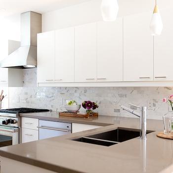 Gray Quartz Countertop, Transitional, kitchen