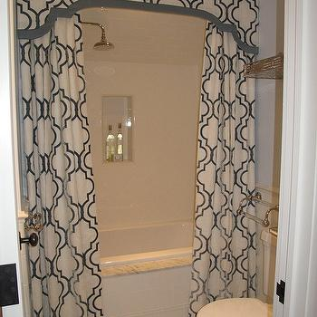 Shower Valance with Curtains, Transitional, bathroom, Liz Caan Interiors