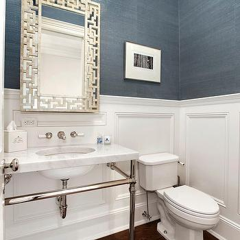 Powder Room Wainscoting, Contemporary, bathroom, Carol Reed Design
