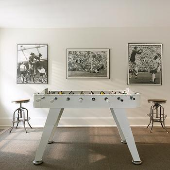 Sara Ruffin Costello - media rooms - foosball, foosball table, white foosball table, vintage bar stools, industrial bar stools, vintage industrial bar stools,
