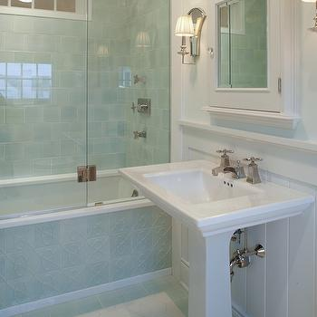 Hex Tile Floor, Transitional, bathroom, Carol Reed Design